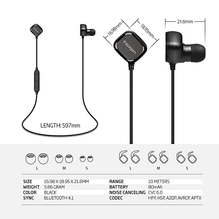 Wireless Headphones Spigen Bluetooth Headphones Magnetic Premium Bluetooth V4 1 Noise Cancelling W Microphone Sweatproof Earbuds Headset For Iphone 7 Se 6 Galaxy Note 7 S7 Or Any Bluetooth Device