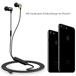 Zinsoko iPhone Earphones Lightning Earbuds MFi Certified with Mic Wired Noise Cancelling Headsets HI-FI Stereo Sound with Storage Bag for Travel Compatible iPhones, iPods and iPads, L01-Black