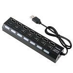 Generic 7-Port USB Hub with ON/OFF Switch, Black (7 Port USB Hub)