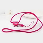 Universal Braided Cord Lanyard with Detachable Rotating Ring for Cell Phones, Keys and ID Cards- HOT PINK