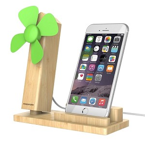 Wood iPhone Stand with USB Fan, Pasonomi Cell Phone Stand Holder with Cooling USB Fan for iPhone 7 6 Plus 5, Samsung Galaxy S8 S7 S6 Edge All Smartphones