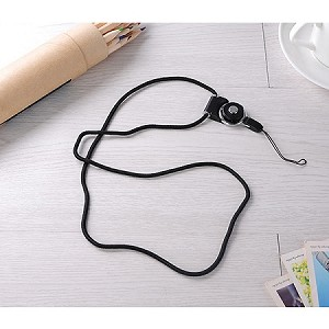 Universal Braided Cord Lanyard with Detachable Rotating Ring for Cell Phones, Keys and ID Cards- BLACK