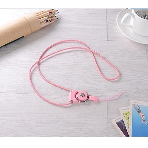 Universal Braided Cord Lanyard with Detachable Rotating Ring for Cell Phones, Keys and ID Cards- PINK