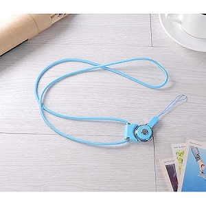 Universal Braided Cord Lanyard with Detachable Rotating Ring for Cell Phones, Keys and ID Cards- SKY BLUE